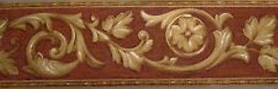 6 Rolls Architectural Wallpaper Border Brown/Gold Acanthus Leaf Norwall Arabella