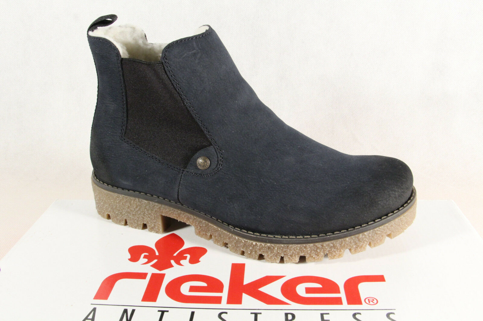 Rieker bota botas botín, azul botas de invierno 79884 azul botín, nuevo 5c56e3