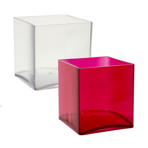 Image Is Loading 15cm Red Clear Acrylic Cube Vase Small Durable