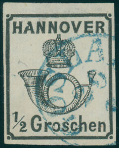 HANNOVER-MiNr-17-II-y-Plattenfehler-gestempelt-Befund-Berger-Mi-450