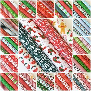 NEW* CHRISTMAS 2019 COTTON FABRIC MATERIAL BUNDLES FAT QUARTERS OR 25CM SQUARES