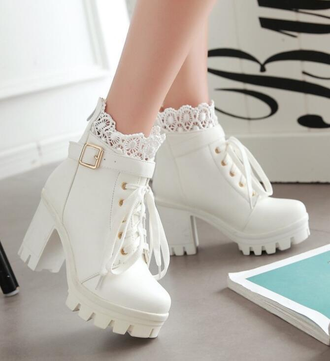 Women Cosplay Lace Chunky Heel Platform Europe Style Ankle Boots shoes Lace Up