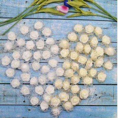 Encantador Espuma 10 Rosas Blanco Espumoso Con Organza Hilos Metal Espuma Rosas Rosas Cabezas El Precio MáS Barato De Nuestro Sitio