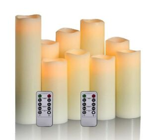 Flameless Candles Flickering Real Wax LED Candles Set of 9 with Remote Control