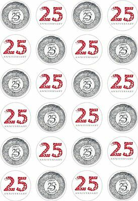 Cake Toppers 24 Silver Wedding 25th Anniversary Cupcake Cake Toppers Edible Rice Wafer Paper