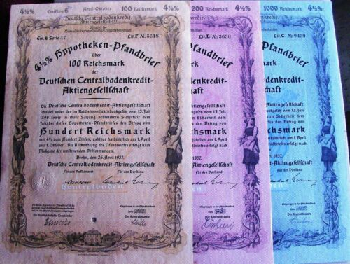 GERMAN 4.5/% Mortgage Certificate bond dated 1937 in Reichsmarks 6 different