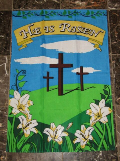 2x3 Easter Crosses He Has Risen Christ Sleeved Garden Flag 28x40 | eBay