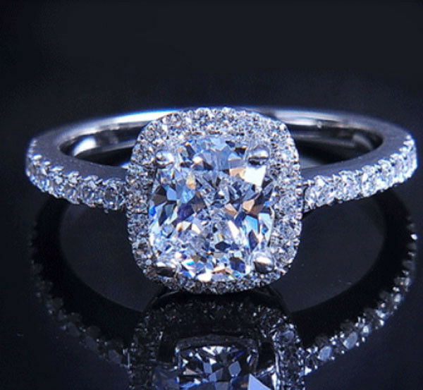 Sz 5-11 Deluxe Ladys Wedding Ring Pave Set White Sapphire 925 Silver Filled Gift