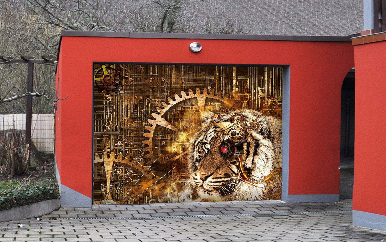 3D Gear Tiger 843 Garage Door Murals Wall Print Decal Wall AJ WALLPAPER UK Carly