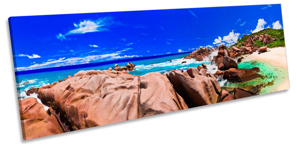 Sunset Beach Tropical Seascape CANVAS Wand Kunst Panoramic Framed Drucken