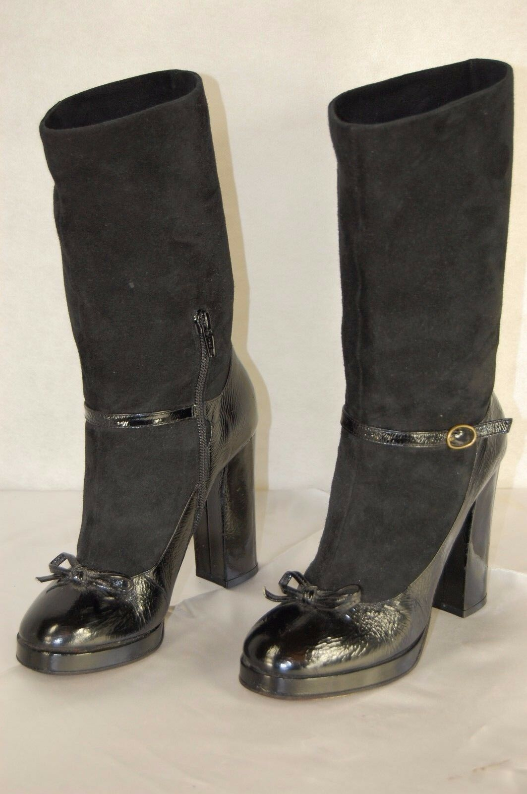 SUPER SEXY MARC JACOBS MADE IN ITALY BLACK HI HEEL BOW ANKLE BOOTS US 6