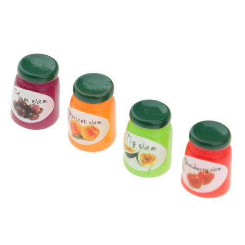 4-tlg Miniatur Frucht Marmelade Essen Modell Küchenzubehör für 1:12