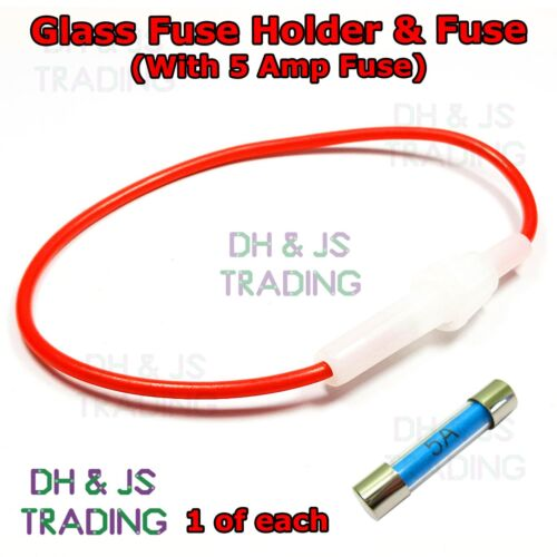 Inline Glass Fuse Holder With 5a Fuse Wire Cable 30mm Boat Car Marine Holder