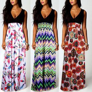 Hot-Womens-Boho-Floral-Summer-Beach-Maxi-Long-Skirt-Evening-Cocktail-Party-Dress