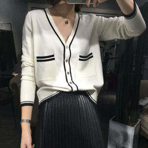 Fashion-Casual-Women-V-Neck-Long-sleeve-Loose-Knitted-Cardigan-sweater-Top-OS