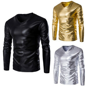 Homme-Metallique-Brillant-Wet-Look-T-shirt-homme-a-manches-longues-Slim-Fit-Col-V-Chemisier-Tops