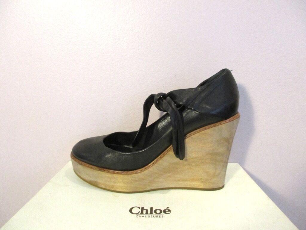 Chloe Maryjane Maryjane Maryjane Plataforma Taco de madera lazo Tobillo Cuñas Bombas 40 10  punto de venta de la marca