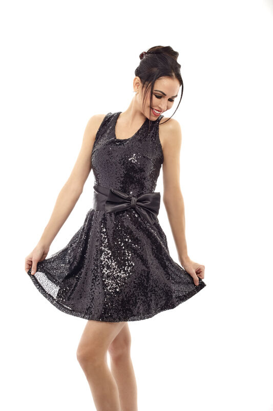 Bodyzone Sexy Holiday Sequin Dress with Bow  Choose Farbe