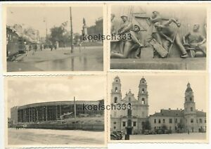 4 Fotos Wehrmacht in Minsk Belarus Russland Kirche Stadion Straßenbahn Denkmal