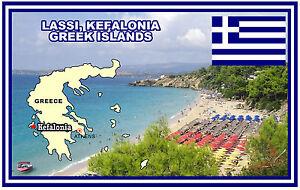 Lassi Kefalonia Greek Islands Map Flag Souvenir Novelty Fridge
