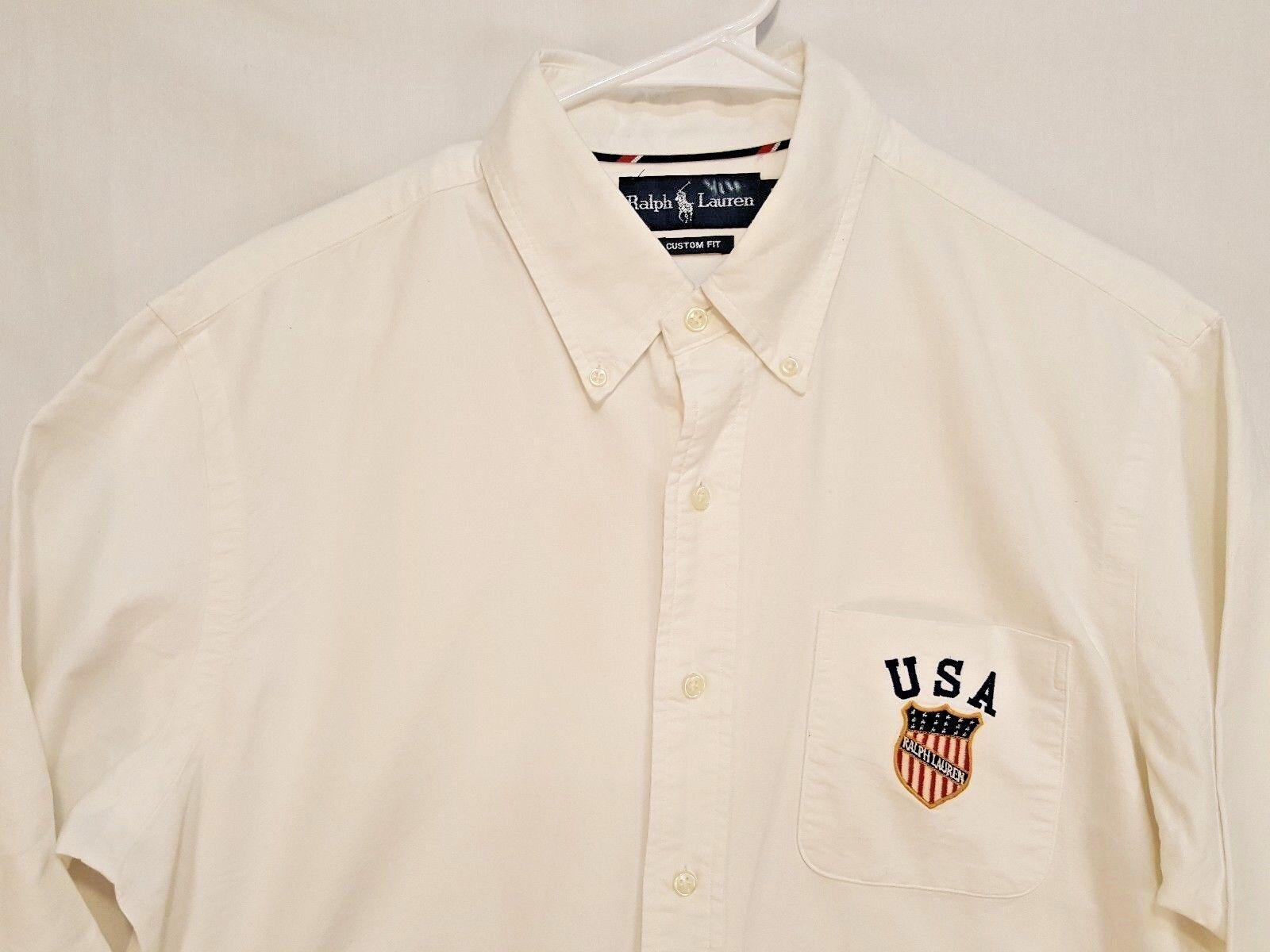 d212a506decf16 Polo Ralph USA Embroidered USA Crest Shield Olympic Shirt Sz L Lauren Vtg  obozjj11063-Casual Shirts   Tops