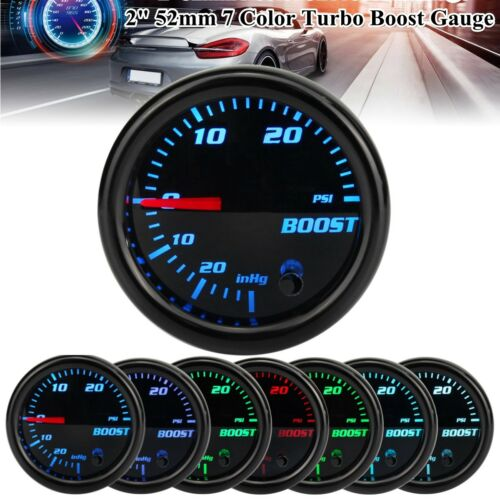 """2/"""" 52mm 7 Color LED 0-30 PSI Turbo Boost Gauge Vacuum Press Pressure Meter Car"""