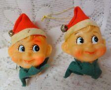 Vintage Rare Pixie Elf Elves Christmas Tree Ornaments / Light Covers