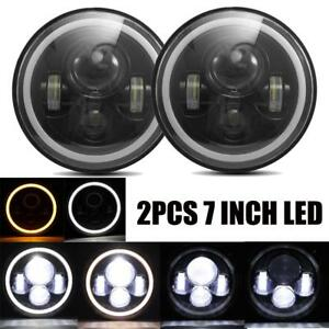 2X-7Inch-Round-150W-CREE-LED-Headlights-Hi-Lo-FitFor-97-18-JEEP-JK-TJ-LJ-Wrangle