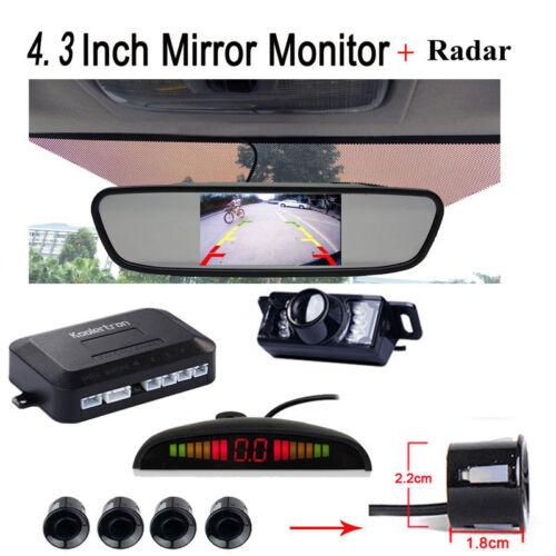 "REAR VIEW MIRROR MONITOR 4.3/""CAR BACK UP REVERSE CAMERA PARKING SYSTEM 4 SENSORS"