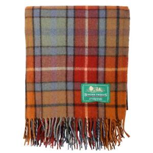 BORDER-TWEEDS-Picnic-Travel-Rug-Throw-Wool-Tartan-Scottish-Buchanan-Antique