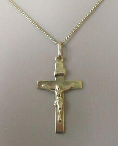 Collar de Oro de 9ct - 9ct Oro Cruz Colgante Crucifijo & 9ct Cadena de oro (2.4g)