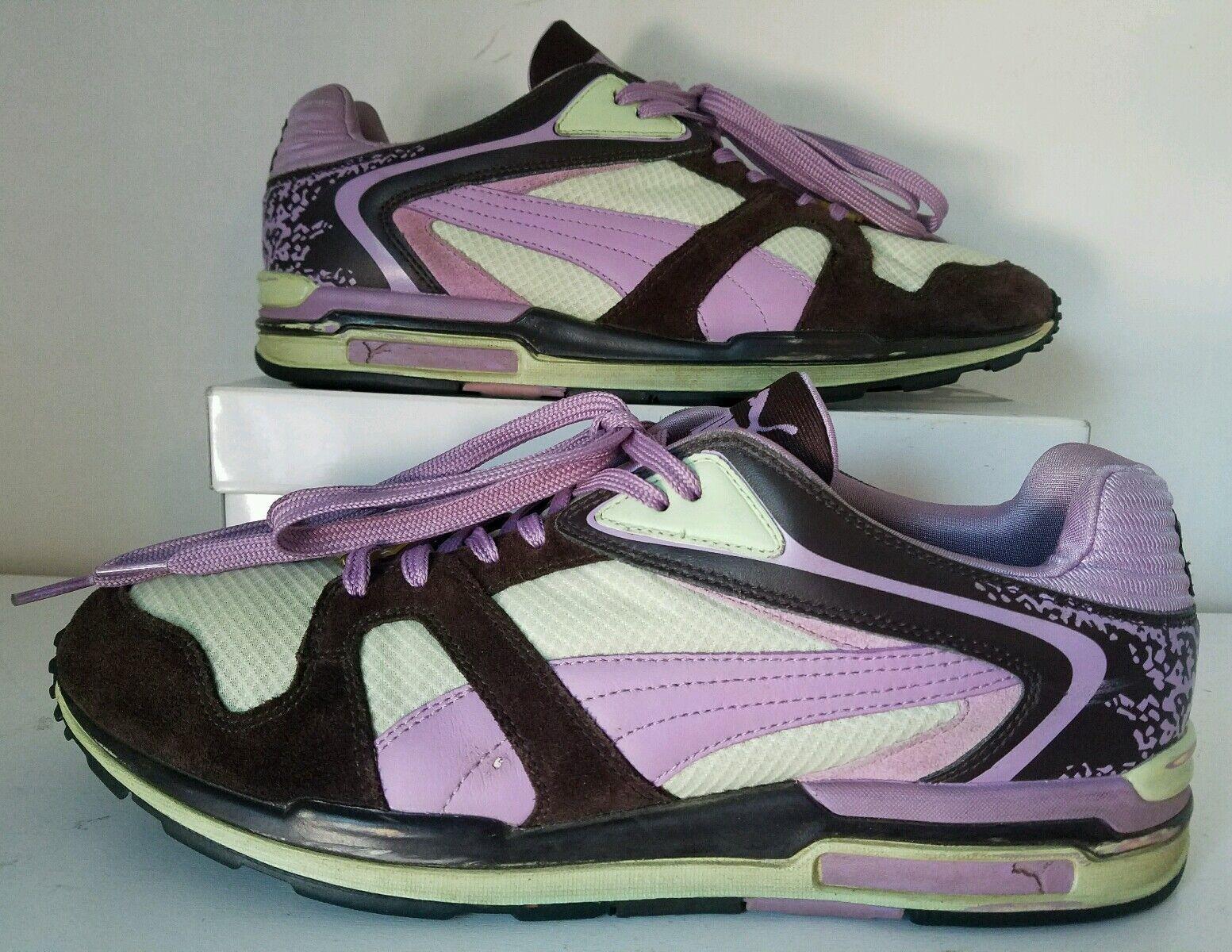 Rare Vintage SAMPLE  Puma Running Chaussures  Violet ,Marron & Vert Sz 9.5 US