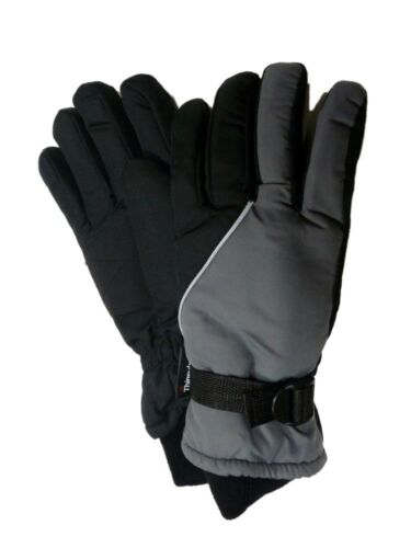 Aquarius Boys Gray /& Black Snow /& Ski Gloves Thinsulate Insulated Wrist Strap