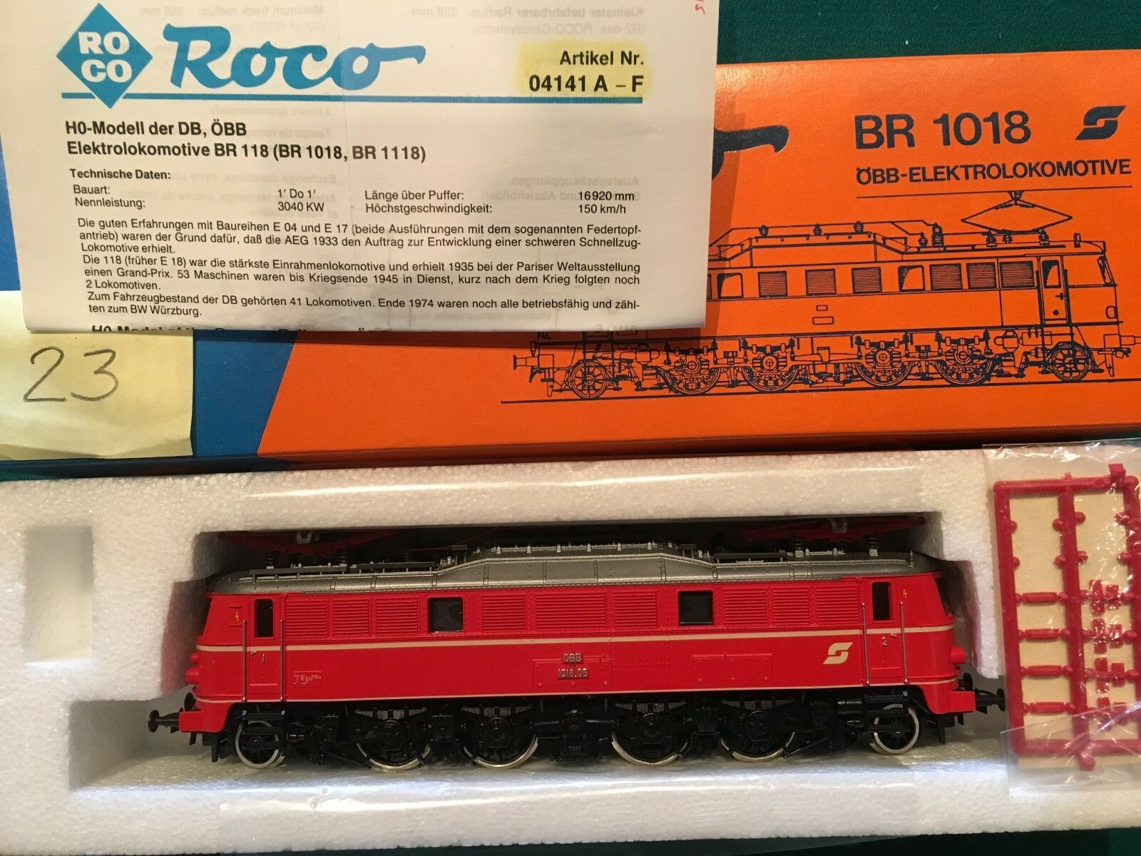 ROCO, HO, Nr.04141 E, Elektrolokomotive, 1018.05, Rot, ÖBB, OVP