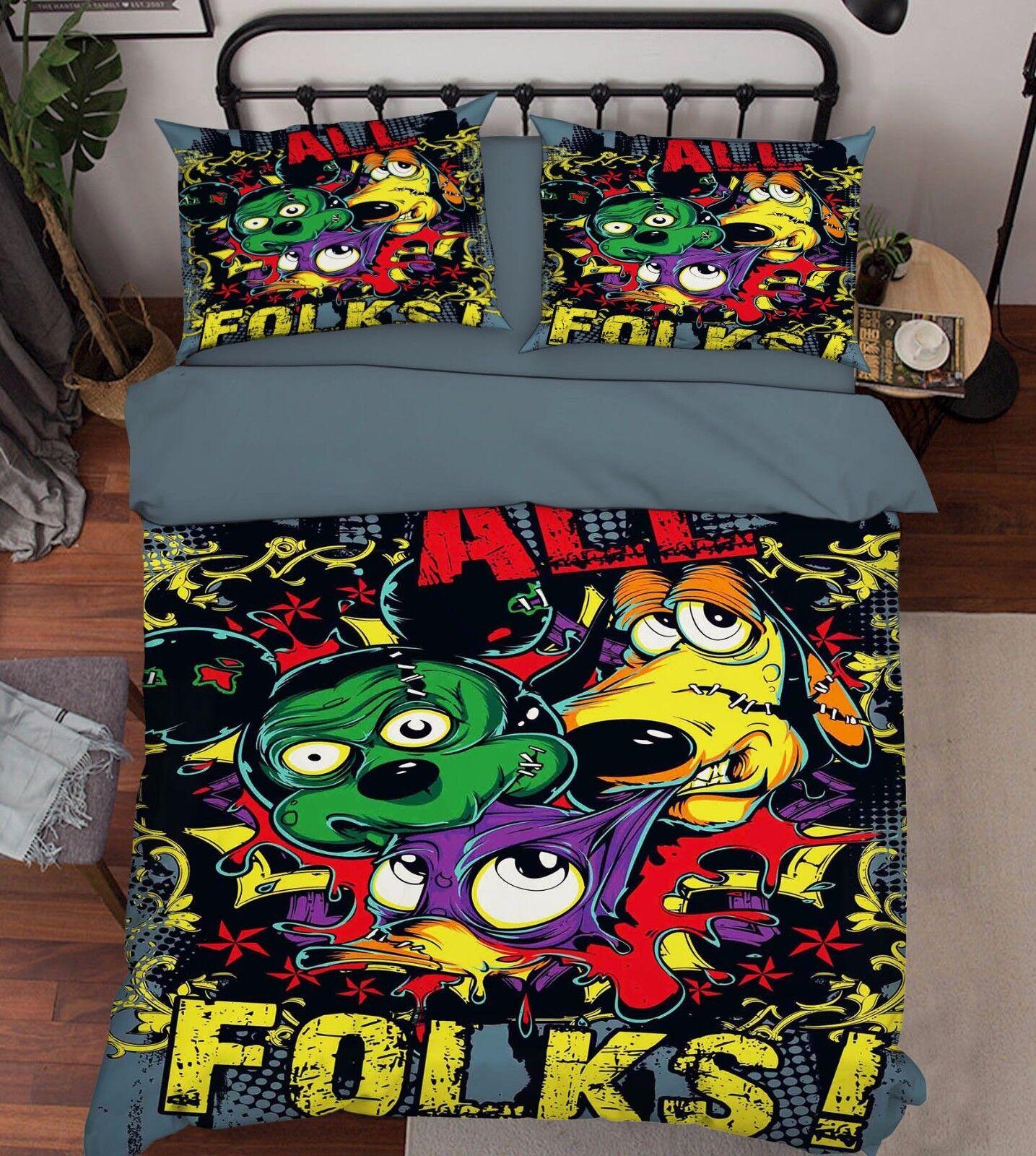 3D Animals Folks Bett Pillowcases Quilt Duvet Startseite Set Single Königin König Größe AU