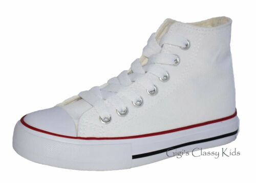 New Boys Girls Youth Canvas High Top Tennis Shoes Lace Up Skater Sneakers Kids