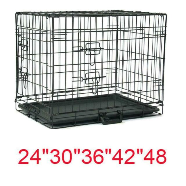 Extra Large Dog Crate Kennel 48 Inches Steel Heavy Duty Cage with Plastic Tray