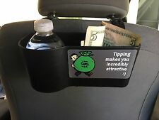 Uber Lyft headrest Bottle holder with display sign to maximize tips