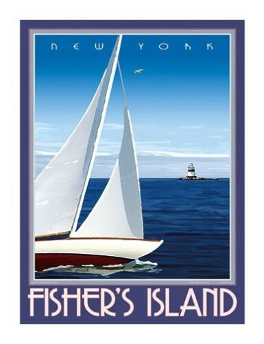 by Aurelio Grisanty Fisher/'s Island Vintage Art Deco Style Travel Poster NY
