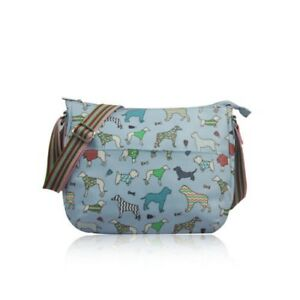 Ladies Multi Womens Messenger Dog cream Girls Bag Blue Print Oilcloth Blue Splashproof pink Canvas pale rwB0paxqEr