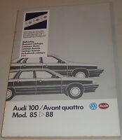 Bildkatalog Teilekatalog Audi 100 Avant qauattro Typ 44 Modelljahr 1985-1988