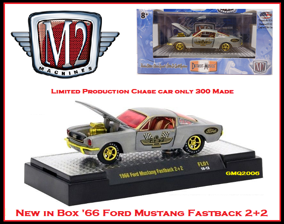 Nouvelle Collection M2 1 64 Diecast RARE CHASE Voiture Ford Mustang'66 vintage 2+2