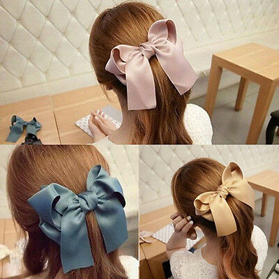 Elegant Womens Multicolor Satin Ribbon Bow Hair Clips Barrette Ponytail Holder