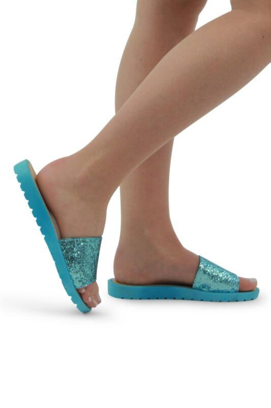 Ladies Delle Donne Le Ragazze Sparkly Cursori Vibrante Pantofole Blu Comfort Cursori Scarpe