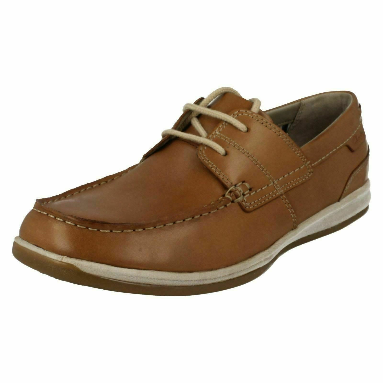 Mens Clarks Tan Moccasin Style Leather Lace-up Shoes : Fallston Style