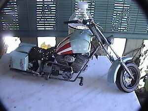 """mini harley davidson sportster with saddle bags 14"""" x 8"""" high motorcycle model"""