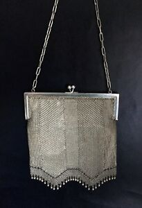 French-Antique-Lady-s-Silk-Lined-Mesh-Evening-Bag-Fashion-Accessories