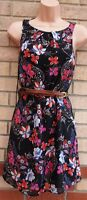 NEW LOOK BLACK CORAL PURPLE FLORAL BELTED SKATER A LINE FLIPPY TEA DRESS 8 S