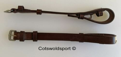 CS English Leather Cheek Pieces only for bridle  BROWN   PONY billet