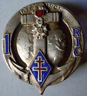 Insigne 1° RIC Régiment Infanterie Coloniale Drago Paris ORIGINAL dos lisse